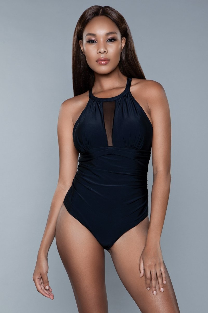 Briella Halter Neck Swimsuit- Black