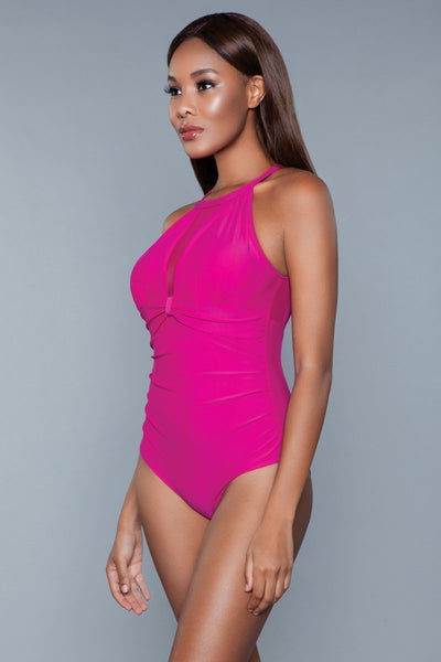 Briella Halter Neck Swimsuit- Fuchsia