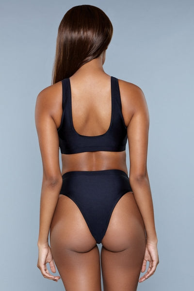 Vera High Waisted Bikini Set- Black