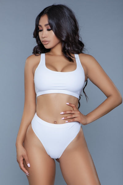 Vera High Waisted Bikini Set- White