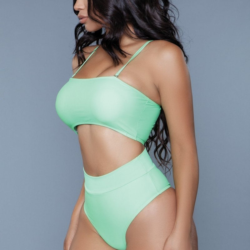 Chanity High Wiasted Bikini Set - Neon Green