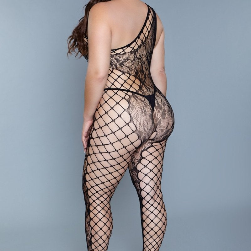 Camila One Shoulder Crotchless Body Stocking