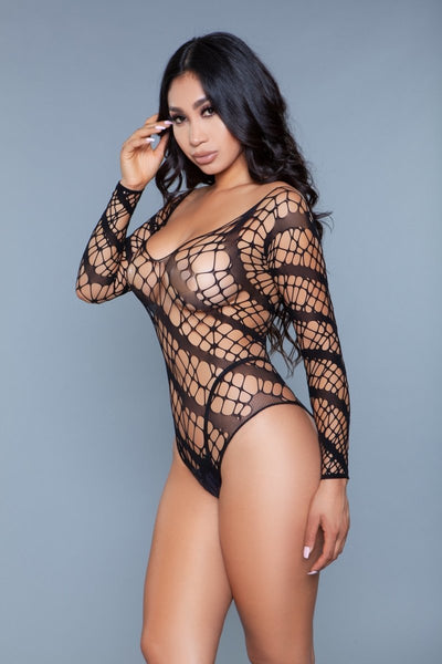 Isabella Fishnet Bodysuit- Black