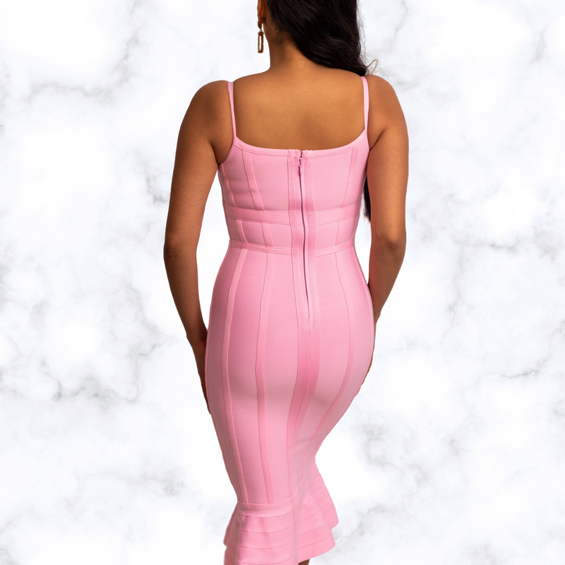 May Mermaid Spaghetti Strap Midi Bandage Dress