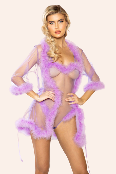 Sheer Lavender Marabou Feather Robe