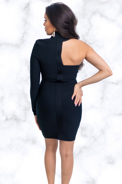 Nia Long Sleeve Cutout Mini Bandage Dress