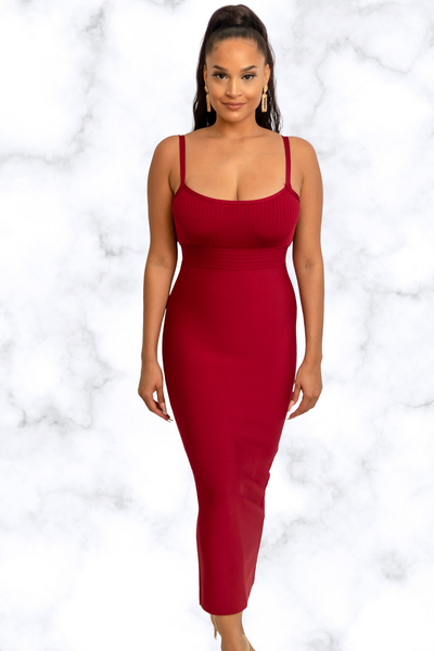 Rih Maxi Bandage Dress- Burgundy