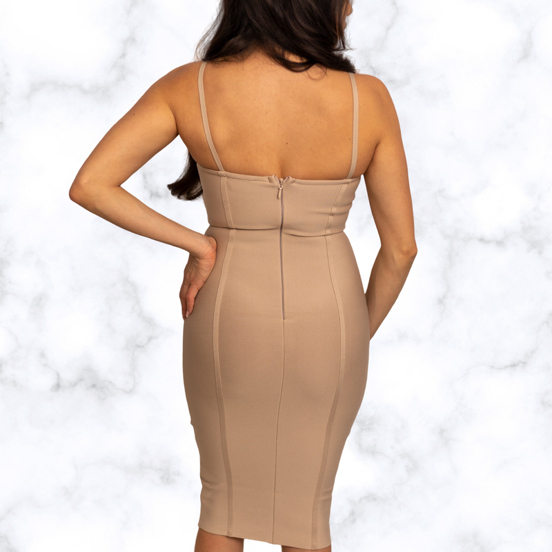 Arianna Sweetheart Nude Midi Bandage Dress