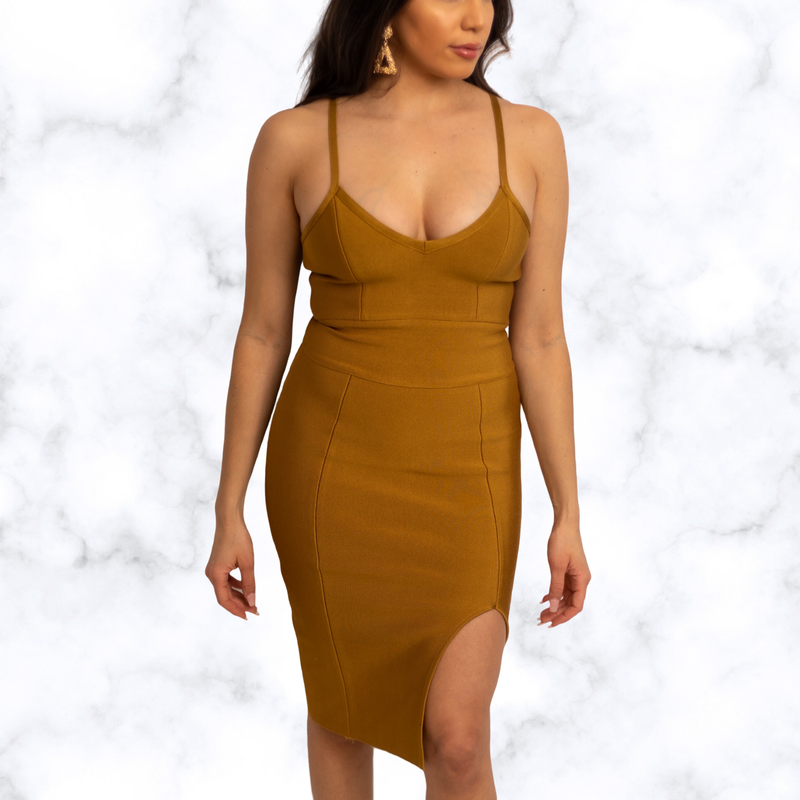 Marianne Midi Slit Bandage Dress