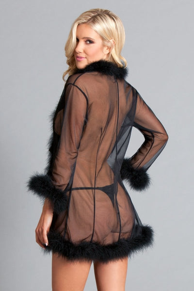 Mary Short Feather Robe- Black