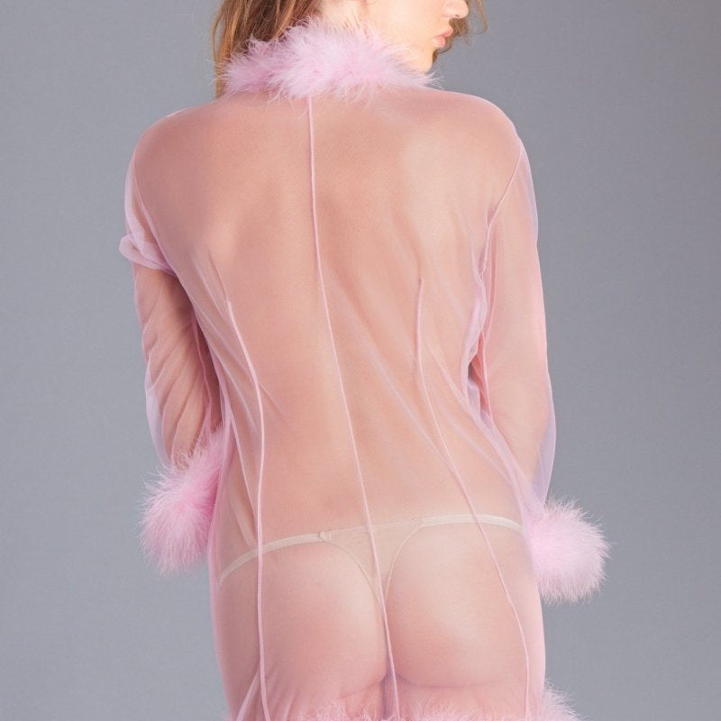 Mary Short Feather Robe- Pink