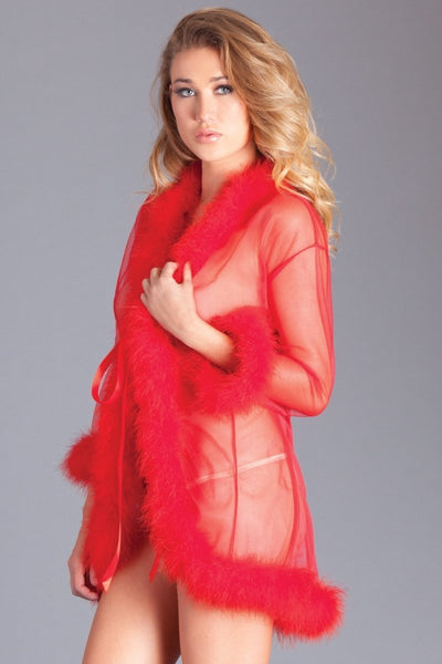 Mary Short Feather Robe- Red