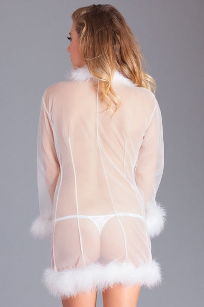 Mary Short Feather Robe- White