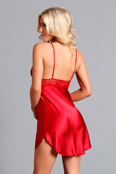 Satin Valentina Red Slip