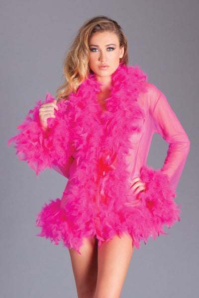 Lanie Short Boa Robe- Hot Pink