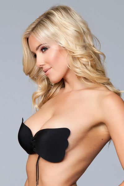Cora Microfiber Tie Up Bra - Black