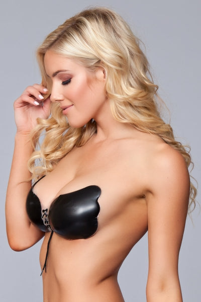 Eva Silicone Tie Up Bra - Black