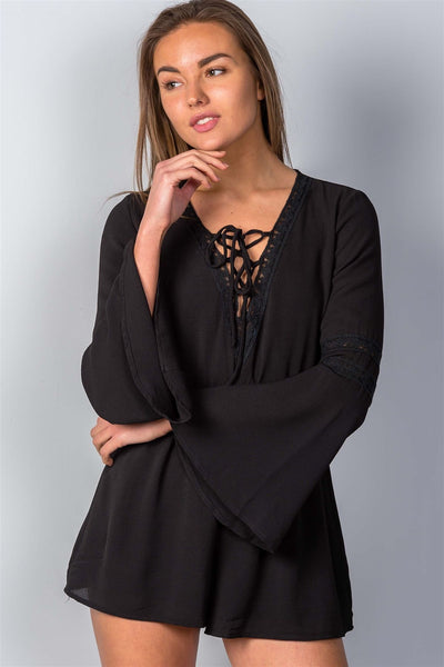 Grace Bell Sleeve Lace-Up Romper - Black