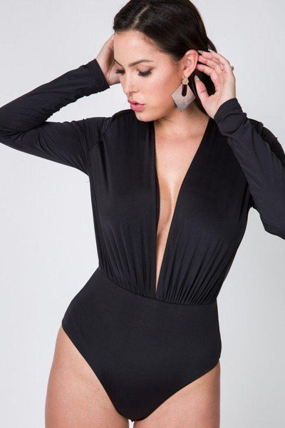 Katrina Deep V Long Sleeve Bodysuit- Black
