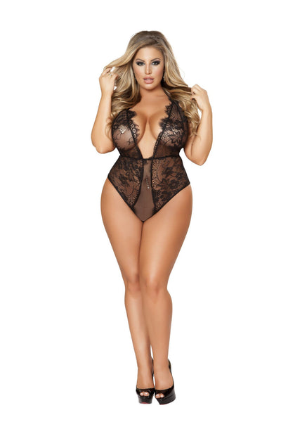LI162 - Roma Confidential Wholesale Lingerie 1pc Teddy with a Low-cut Plunge Front