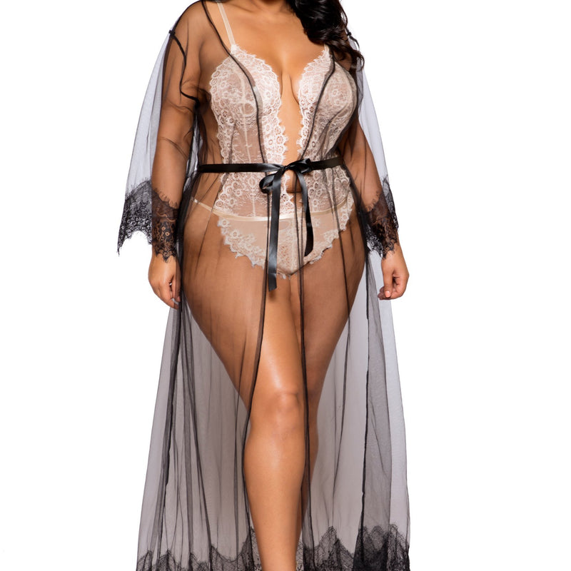 Sheer Maxi Robe with Lace