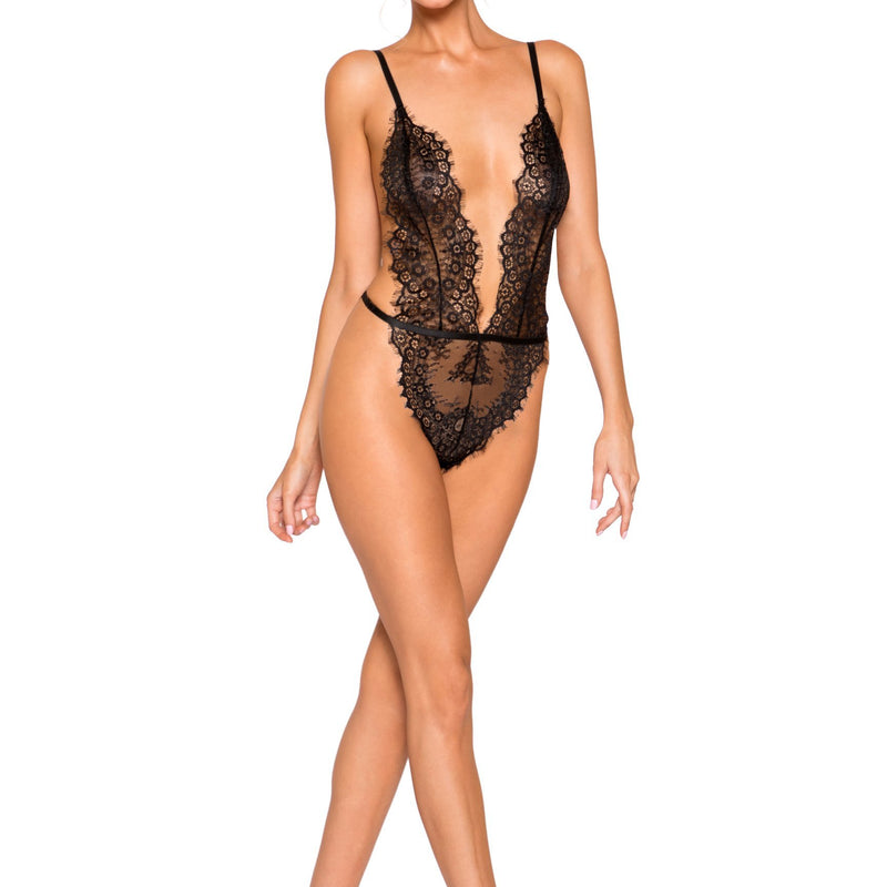 LI257 Roma Confidential Wholesale Lingerie Black Simply Stunning Low Plunge and High Leg Eyelash Teddy