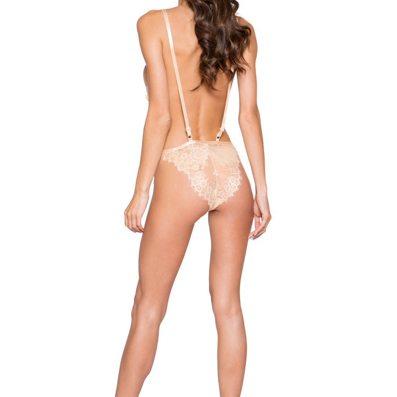 LI257 Roma Confidential Wholesale Lingerie Beige Simply Stunning Low Plunge and High Leg Eyelash Teddy