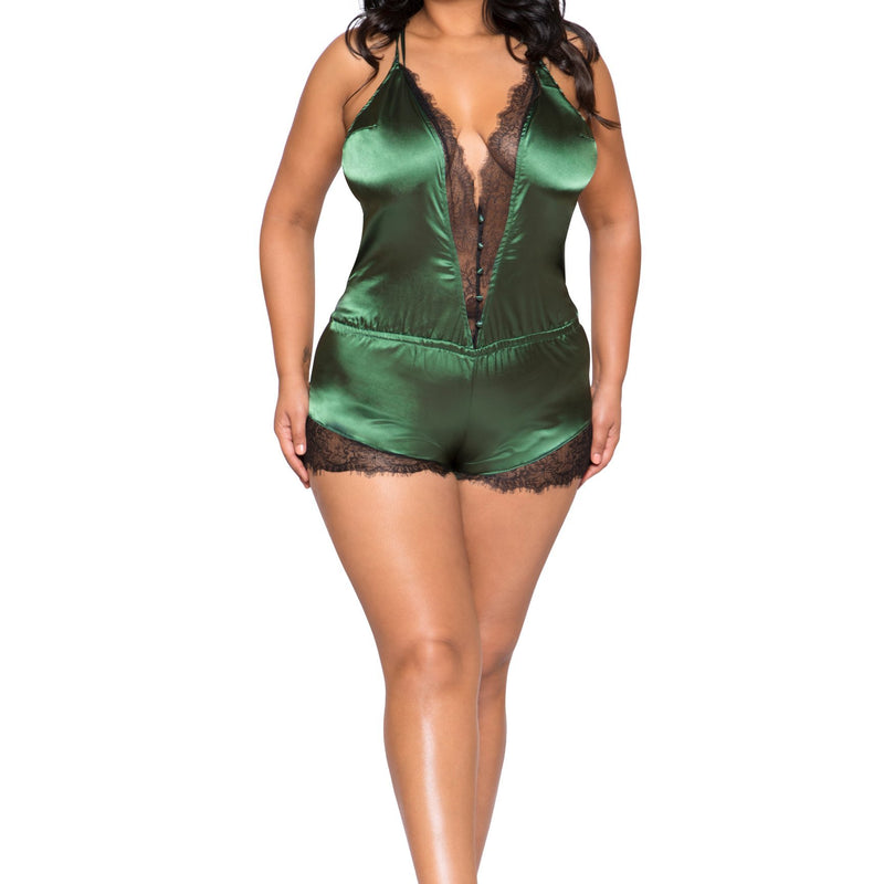 LI270 Roma Confidential Wholesale Plus Size Lingerie Green Elegant Eyelash Lace and Satin Romper with Button Detail