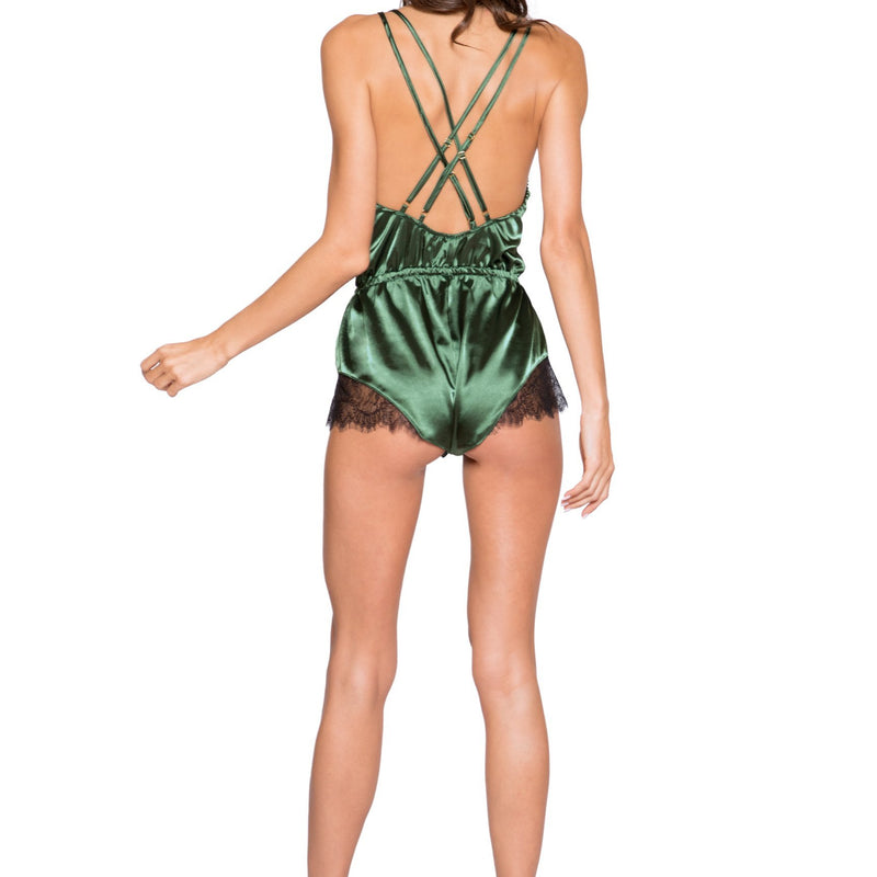 LI270 Roma Confidential Wholesale Lingerie Green Elegant Eyelash Lace and Satin Romper with Button Detail