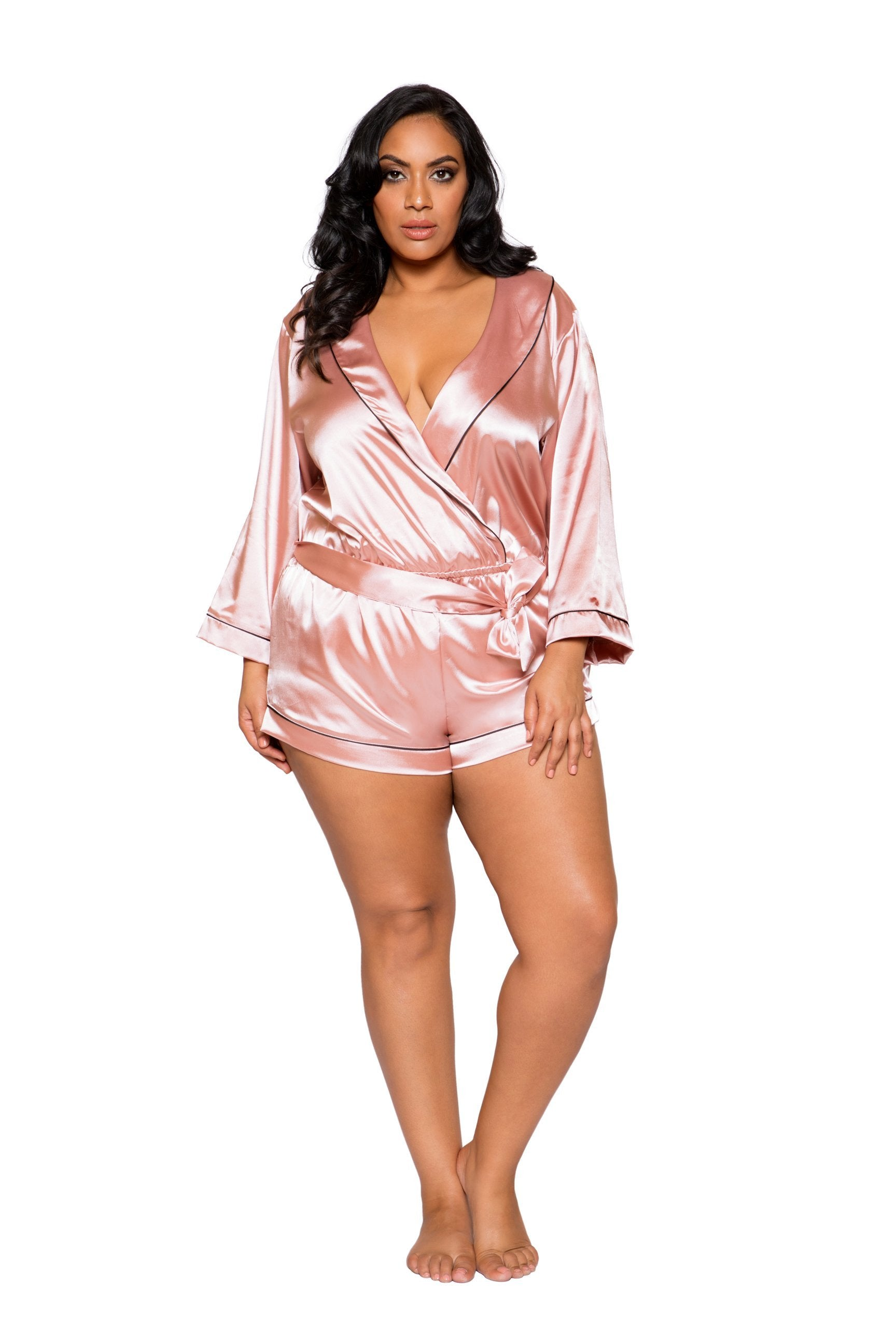 LI283 Roma Confidential Wholesale Plus Size Lingerie Pink Chic Cozy Collared Satin Romper with Tie