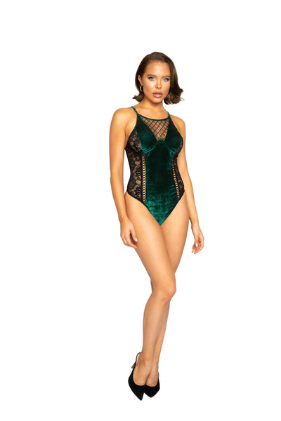 Velvet & Lace Teddy with Lace-Up Trim
