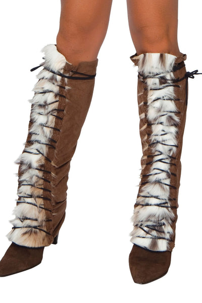 Fur Suede Lace-Up Leg Warmer