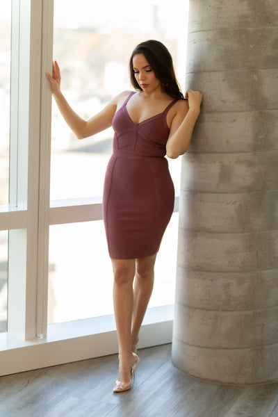 Bentley V Neck Mini Bodycon Dress