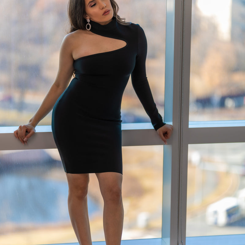 Nia Long Sleeve Cutout Mini Bandage Dress- Sexy Bandage Dresses- Partypeach.com