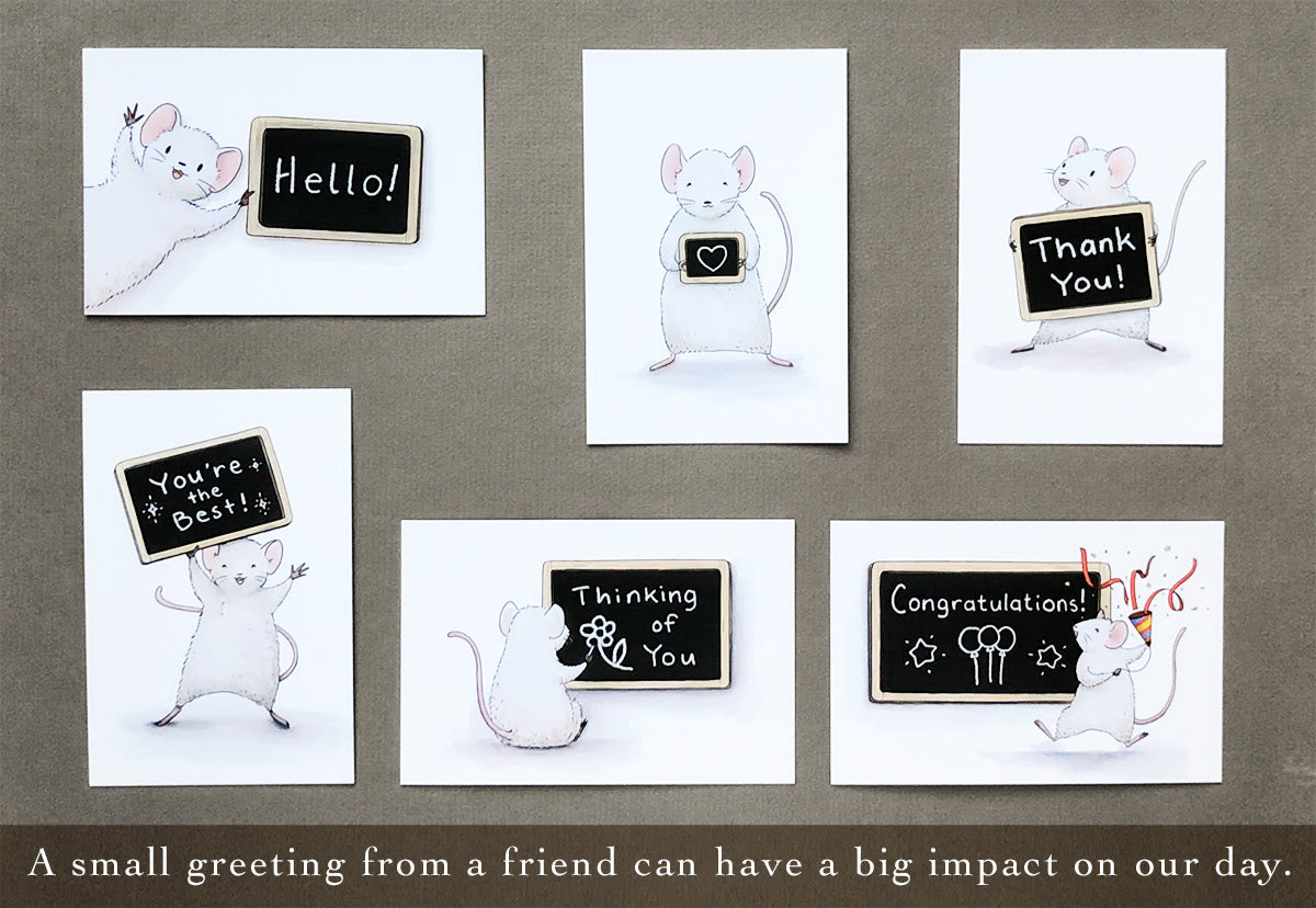 The Paper Mouse Chalkboard Greetings Postcard Set