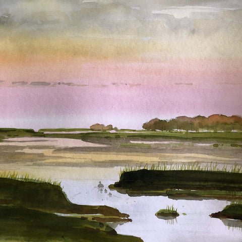 Watercolor Paint Night: Sunset Marsh | Teens and Adults