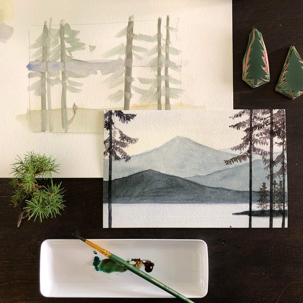 Fun with Watercolor: Mountains & Pine Trees | All Ages