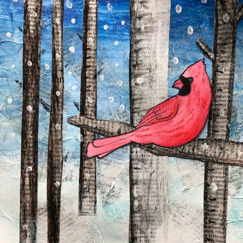Mixed Media Collage: Cardinal | All Ages