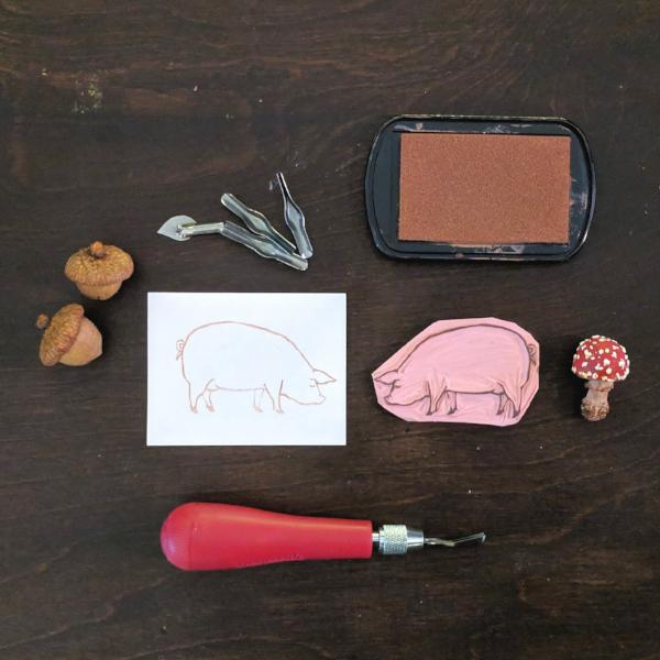 Rubber Stamp Carving: Pig | Teens and Adults
