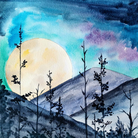 Watercolor Paint Night: Moonlit Forest | Teens and Adults