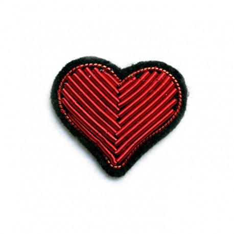 Red Heart Hand-Embroidered Pin
