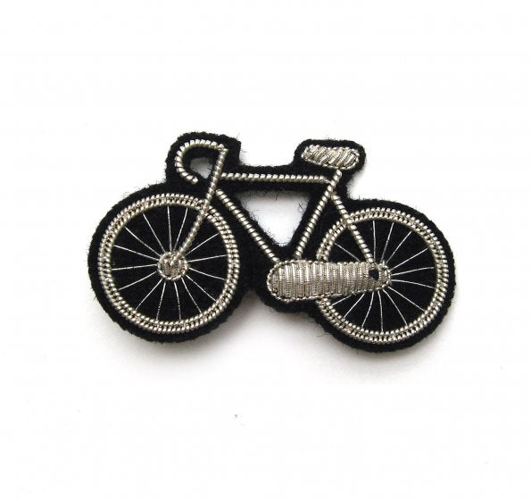 Silver Bicycle Hand-Embroidered Pin
