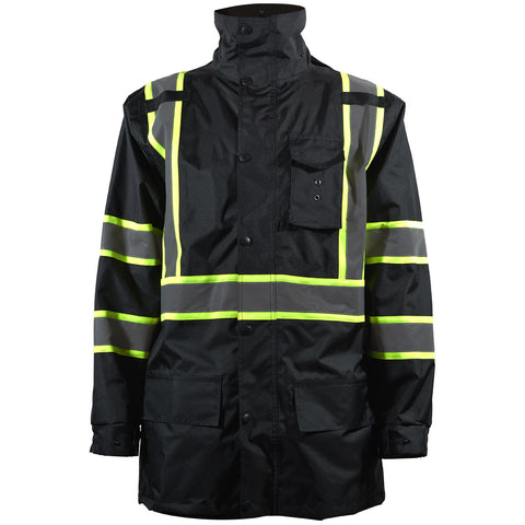 BKPJLW-LG Black/Lime Two Tone Waterproof Light Weight Rain Parka Jacket / Trench Coat