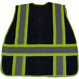 BLVM-PSV ANSI NON-RATED Navy Blue Mesh / Lime Green Contrast Expandable Breakaway Vest