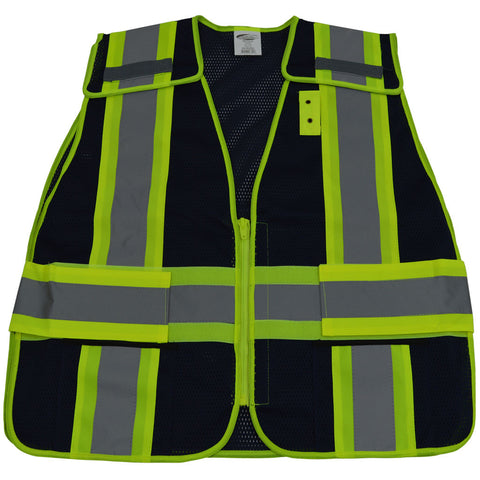 "NAVY BLUE MESH / LIME GREEN CONTRAST EXPANDABLE 5 Point BREAKAWAY VEST With NON-VELCRO BREAKAWAY ZIPPER, 2"" SILVER REFLECTIVE TAPES, , 2 POCKETS, MIC-TABS"