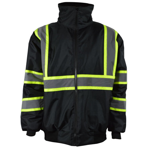 BQBJ-LG Two Tone Enhanced Visibility Black Quilted Bomber Jacket with Lime Constrast Binding