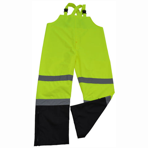 LBBIP-CE ANSI/ISEA 107-2010 Class E Lime/Black Waterproof Rain Bib Pants