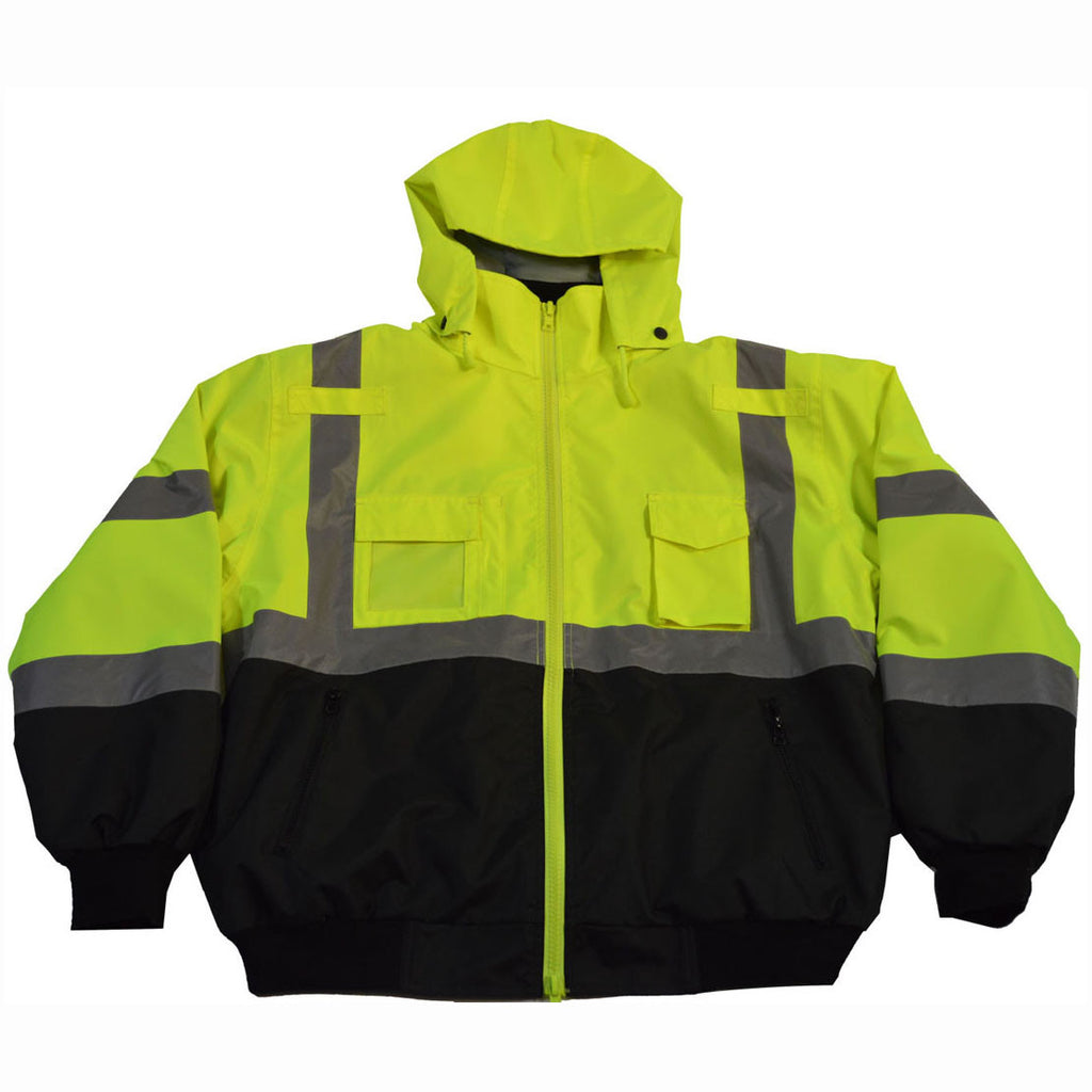 LBBJ-C3 ANSI/ISEA LIME/BLACK  Class 3 Waterproof Bomber Jacket with Removable Liner