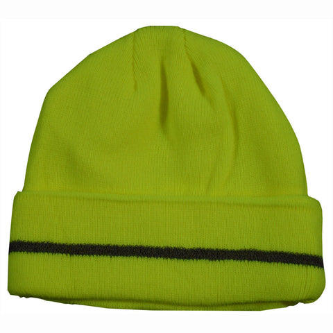 LBE-S1 Lime Safety Beanie Hat with Reflective Stripe
