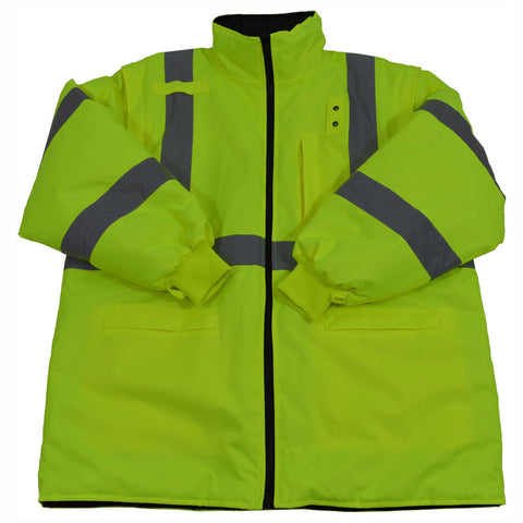 Lime/Black reversible quilted parka jacket with removable sleeves; Inside jacket for LBPJ6IN-C3